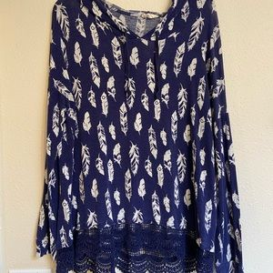 Long Sleeve Hooded Feather Blouse